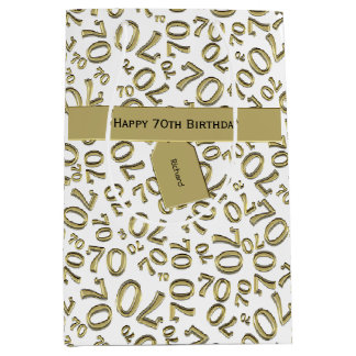 Personalise:  Happy 70th Birthday Party Theme (M) Medium Gift Bag