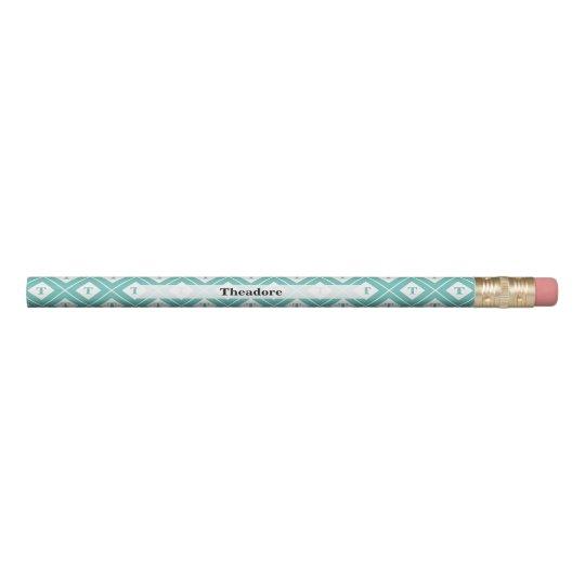 Personalise:  Initial Teal/White Geometric Blocks Pencil