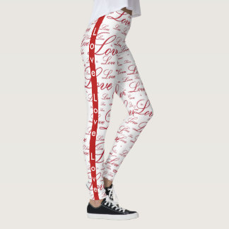 """Personalise:   """"Love """" Red Valentine's Typography Leggings"""
