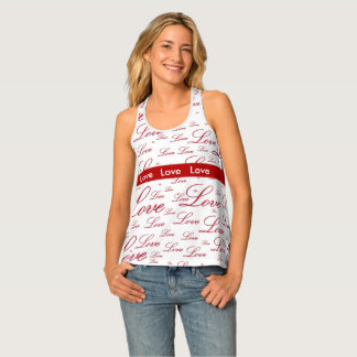 """Personalise:   """"Love """" Red Valentine's Typography Tank Top"""