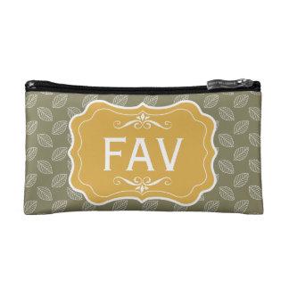 Personalise Modern leaves Travel Accessories kit Makeup Bag