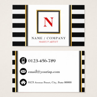 Personalise Monogram Makeup Artist Business Card