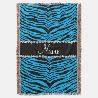 Personalise name sky blue tiger stripes throw blanket