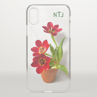 Personalise:  Red Tulips Floral Photography iPhone X Case