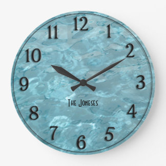 Personalise: Swimming Pool Water - Summer Abstract Large Clock