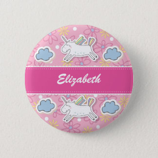 Personalise, Unicorn Badge. 6 Cm Round Badge