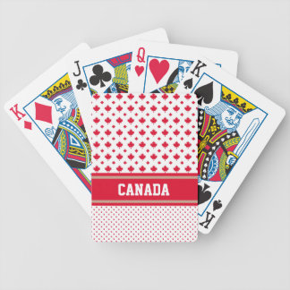 Personalise Unique Canadian Red White Maple Leaf Bicycle Playing Cards