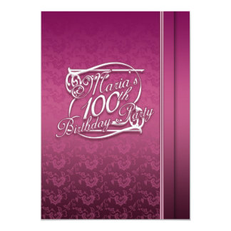 Personalised 100th Birthday Inviations Card
