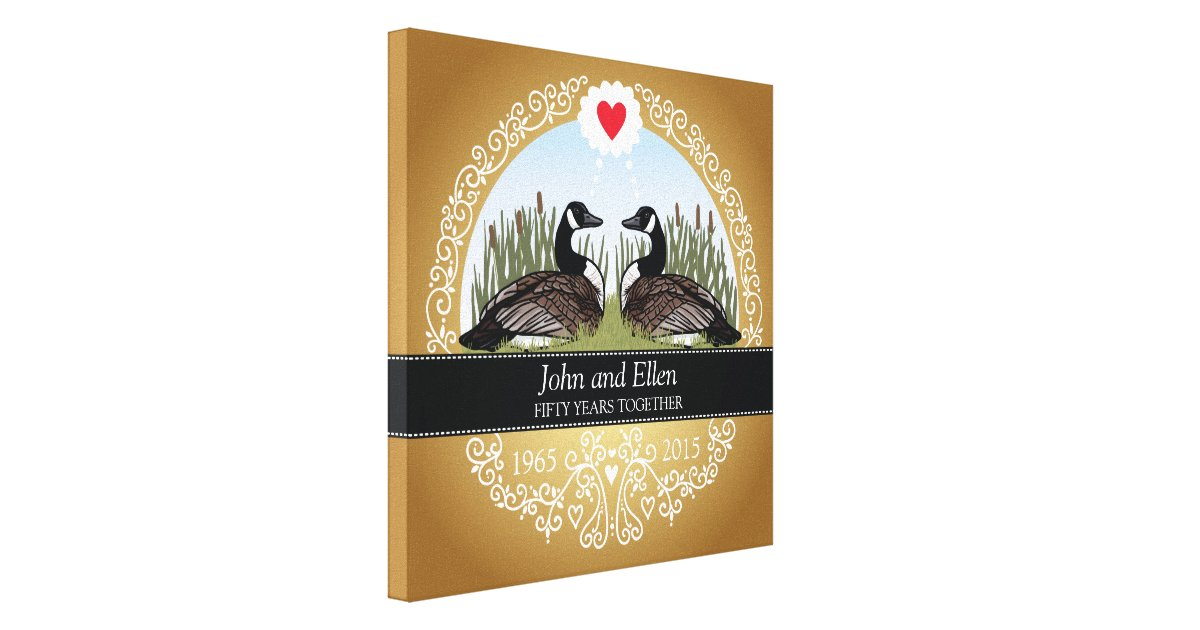 Personalised Wedding Anniversary Gifts Nz : Personalised 50th Wedding Anniversary, Geese Canvas Print Zazzle