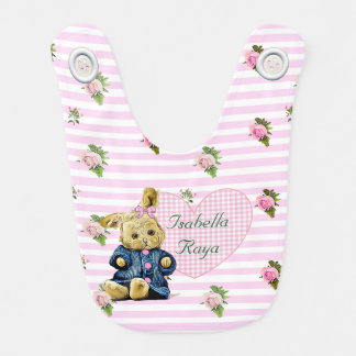 Personalised Baby Girl Floral Pink Bunny Bib