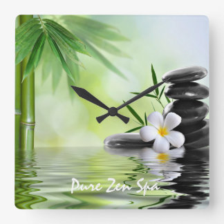 Personalised Bamboo Zen Stones Water Plumeria Square Wall Clock