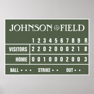 """Personalised Baseball Scoreboard -36"""" x 24"""" Poster"""