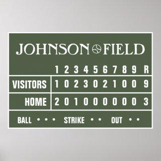 """Personalised Baseball Scoreboard - 60"""" x 40"""" Poster"""