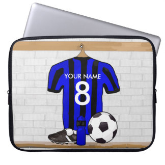 Personalised Black and Blue Football Soccer Jersey Laptop Sleeve