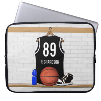 Personalised Black and White Basketball Jersey Laptop Sleeve
