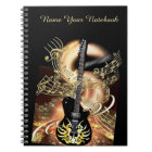 Personalised Black Gold Guitar Music Notebook