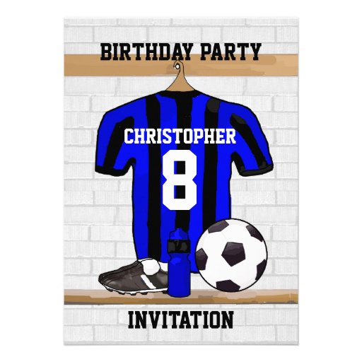 Personalised blue and black football soccer Jerse Personalized Invitations