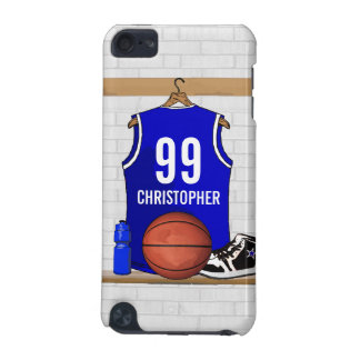 Personalised Blue and White Basketball Jersey iPod Touch 5G Cover
