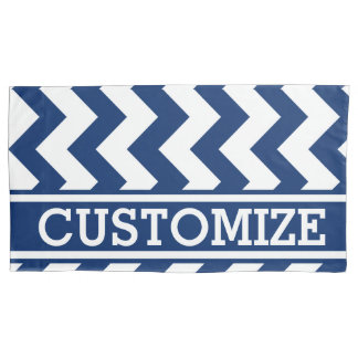 Personalised Blue and White Chevron Pattern Pillowcase