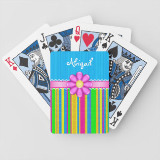 Personalised Blue Colourful Flower Playing Cards