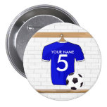 Personalised Blue White Football Soccer Jersey 7.5 Cm Round Badge