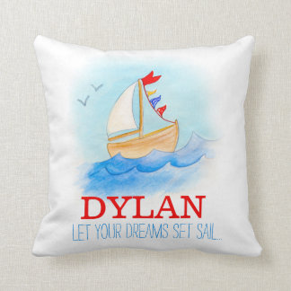 Personalised boys nursery sailing boat name pillow