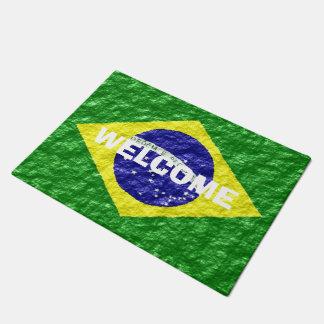 Personalised Brazilian Flag Design Doormat