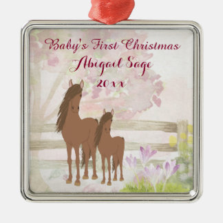 Personalised Brown Horses Baby's 1st Christmas Christmas Ornament