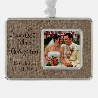 Personalised Burlap-Look Rustic Wedding Keepsake Silver Plated Framed Ornament