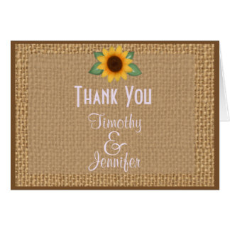 Personalised Burlap Sunflower Thank You Note Greeting Card