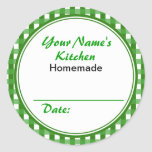 Personalised Canning Labels Round Sticker Green