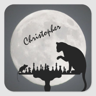Personalised Chess Full Moon Cat and Mouse Game Square Sticker