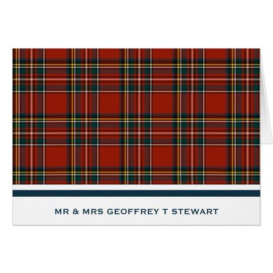 Personalised Classic Red Scottish Tartan Card