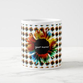 Personalised Colourful Flower Large Coffee Mug