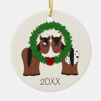 Personalised Cute Horse Couple Christmas Wreath Christmas Ornament