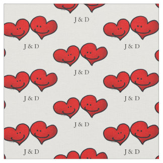 personalised cute red hearts wedding couple fabric