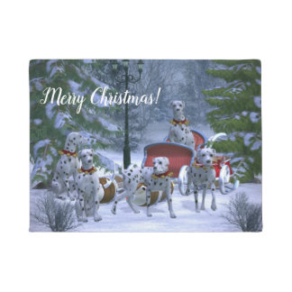 Personalised Dalmatians, Sleigh & Snow Christmas Doormat
