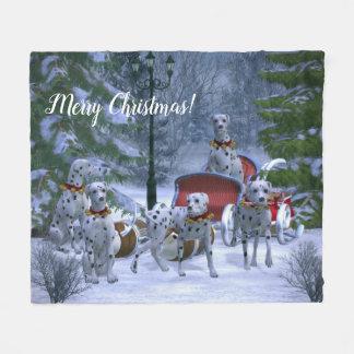 Personalised Dalmatians, Sleigh & Snow Christmas Fleece Blanket
