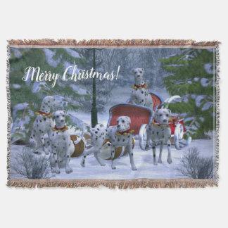 Personalised Dalmatians, Sleigh & Snow Christmas Throw Blanket
