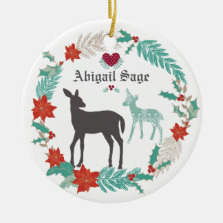 Personalised Deer and Wreath Baby's 1st Christmas Christmas Ornament