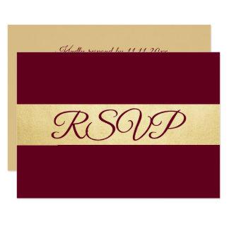 Personalised Elegant Fall Burgundy RSVP Wedding Card