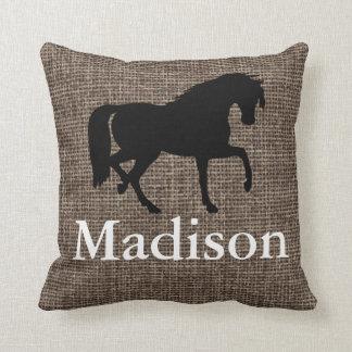 Personalised Faux Burlap Horse Silhouette Cushion