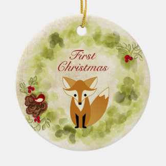 Personalised Fox and Wreath Baby's First Christmas Christmas Ornament