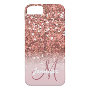 Personalised Girly Rose Gold Glitter Sparkles Name Case-Mate iPhone Case