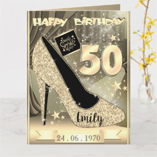 Personalised Gold 50th Birthday Card Idea For Her
