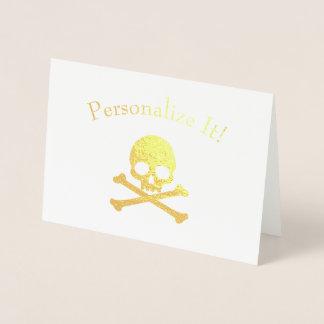 Personalised Gold Foil Skull And Crossbones Foil Card