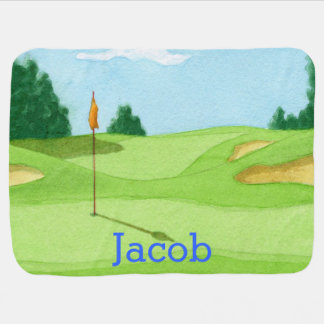 Personalised Golf Course Green Baby Blanket
