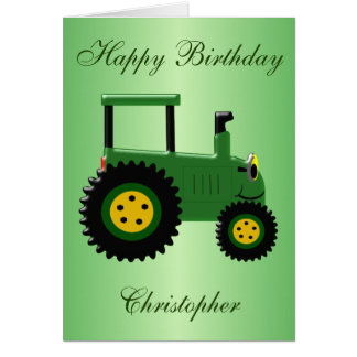 Personalised Green Tractor Birthday Card