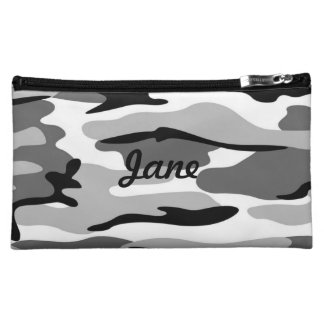 Personalised Grey & Black Camouflage Cosmetic Bag