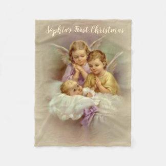 Personalised Guardian Angel Cherubs baby in Cloud Fleece Blanket